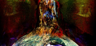 Blue Flame mixed media collage composite