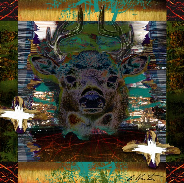 Deer Messenger 3 mixed media collage composite