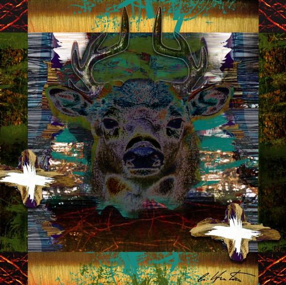 Deer Messenger 3 mixed media collage composite