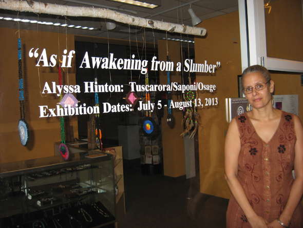 Standing at The Guilford Native American Art Gallery at the Davies Street Cultural Center in Greensboro, NC