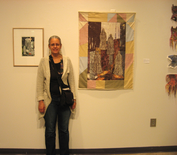 """Alyssa with first quilt """"Mum's The Word: Plantation Memory"""" (Indian Slavery Quilt)"""