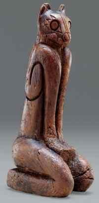 Feline Statue, wood, A.D. 1000-1400