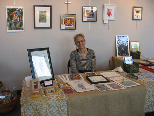 Native Artist, Alyssa Hinton selling art at River Roots Art Showcase, Givens Performing Arts Center, UNCP