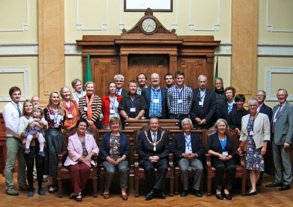 28.8.2015 Boole family members with Cork Lord Mayor Cllr. Chris OLeary. City Hall photos Aisling O'Sullivan