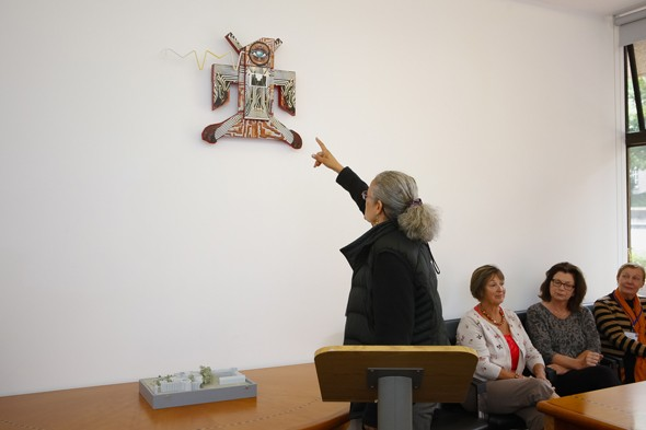 "Speaking on the scientific and cultural significance of the ""Circuit Board Thunderbird"" amalgamation: Boole Library Board Room. Copyright: Emmet Curtin"