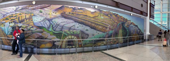 On My Way Home...Denver Airport Amazing Mural Painting (and the security check folks weren't mean)!!