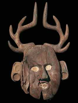 Mask with Antlers, wood, Caddoan culture, found in Craig Mound, A.D. 1200-1350